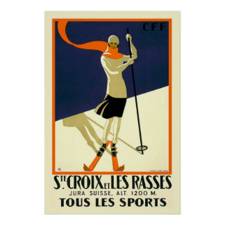 Suite Croix und Les Rasses Schweizer Vintage Rei Plakat