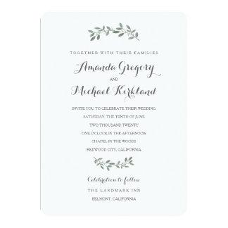 Suite élégante de mariage d'eucalyptus carton d'invitation  12,7 cm x 17,78 cm