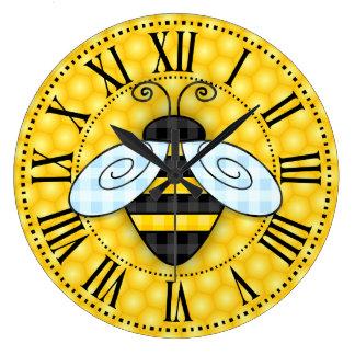 Summende Hummel-und Bienenwaben-Ikone ohne Text Große Wanduhr