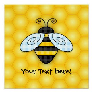 Summende Hummel-und Bienenwaben-Ikone Poster