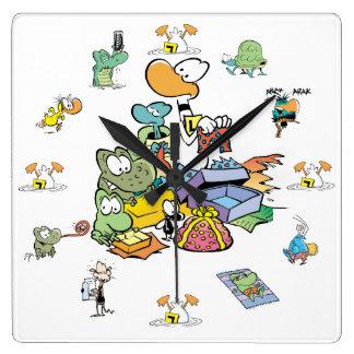 Sumpf-Cartoon-Charakter-Uhr Quadratische Wanduhr