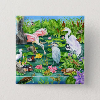 Sumpfgebiet-Wunder Quadratischer Button 5,1 Cm