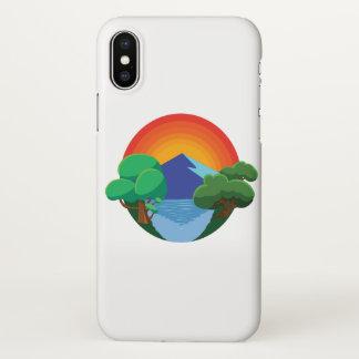 Sun, Berg, See und Bäume 👍 iPhone X Hülle