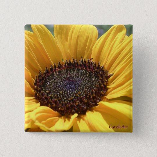 Sun-Geküsste Sonnenblume Quadratischer Button 5,1 Cm