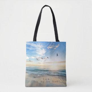 Sun. Himmel. Meer. Sand. Strand-Szene Tasche