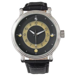 Sun u. Vintage schwarze der lederne Bügel-Uhr der Armbanduhr