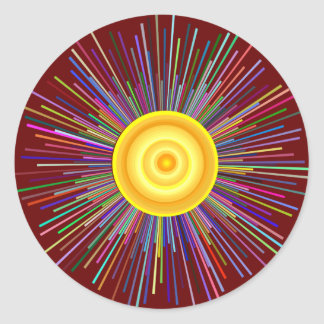Sun über dem Mond-Regenbogen-Fraktal Runder Aufkleber