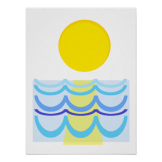 Sun über dem Wasser abstrakt Poster