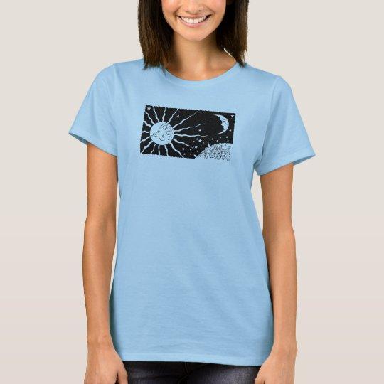 Sun und Mond-Vintage Nachtraum-Szene T-Shirt