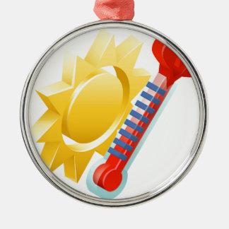 Sun- und Thermometer-Wetter-Ikonen-Konzept Rundes Silberfarbenes Ornament