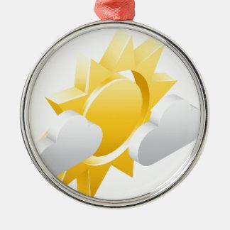 Sun- und Wetter-Ikonen-Konzept der Wolken-3d Silbernes Ornament