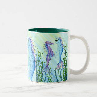 Sunrise Swim Sea Dragon Mermaid Cat Fine Art Mug Zweifarbige Tasse