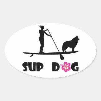 SUP Hund Ovaler Aufkleber