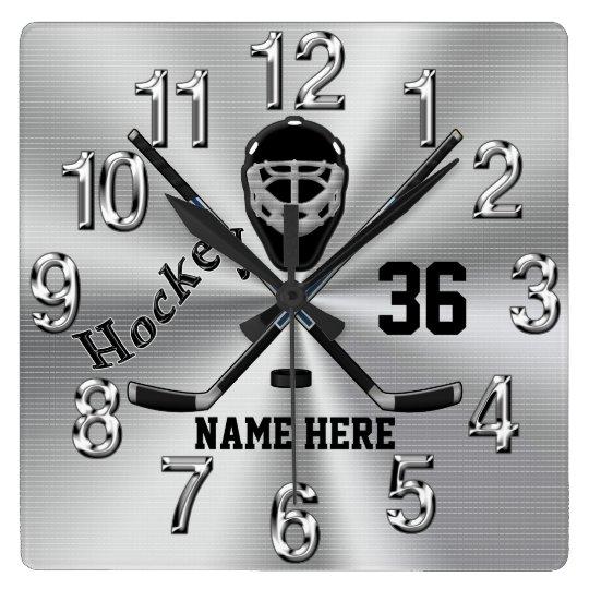 Super Coole Personalisierte Hockey Uhr Fur Jungen Quadratische Wanduhr