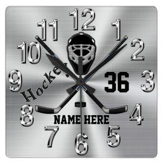 Super coole PERSONALISIERTE Hockey-Uhr für Jungen Wanduhr