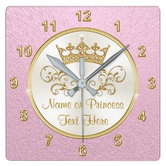 Super hübsche rosa Prinzessin Clock mit IHREM TEXT Quadratische Wanduhr