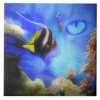 Super niedliche Katzen-und Fisch-Kunst-Fliese Keramikfliese