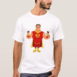 Superdad mit Zwillingen - Cartoon T-Shirt
