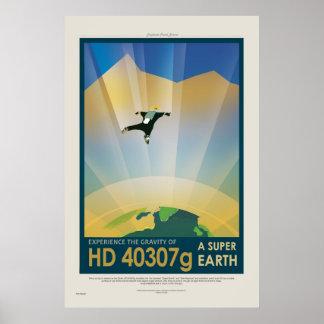 Supererdausflug - Retro die NASA-Reise-Plakat Poster