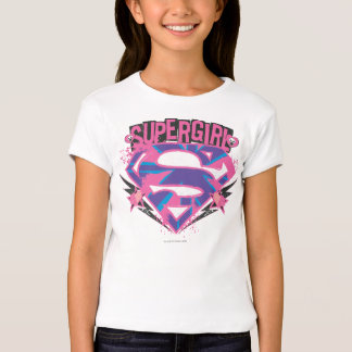 Supergirl rosa und lila Grunge-Logo T-Shirt
