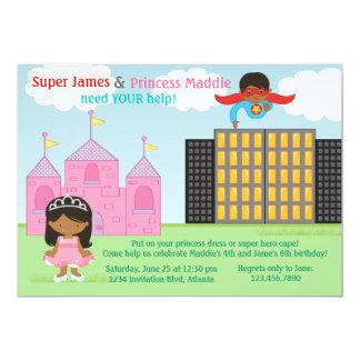 Superheld und Prinzessin Twins Joint Birthday 12,7 X 17,8 Cm Einladungskarte