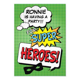 Superhero-Comic-Streifen-Kindergeburtstag-Party 12,7 X 17,8 Cm Einladungskarte