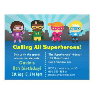Superhero-Gruppen-Kindergeburtstag-Party 10,8 X 14 Cm Einladungskarte