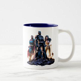 Supermann, Batman u. Wunder-Frauen-Dreiheit Zweifarbige Tasse