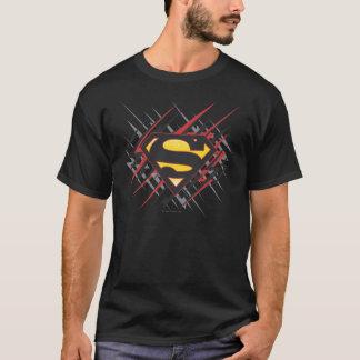 Supermann stilisiertes schwarzes | und Rot schlägt T-Shirt