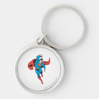 Supermann verlassene Faust angehoben Silberfarbener Runder Schlüsselanhänger