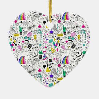 Superspaß-Schwarz-weißer Regenbogen-80er Keramik Herz-Ornament