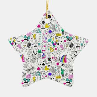 Superspaß-Schwarz-weißer Regenbogen-80er Keramik Stern-Ornament