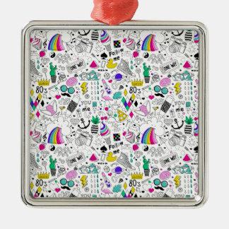 Superspaß-Schwarz-weißer Regenbogen-80er Silbernes Ornament