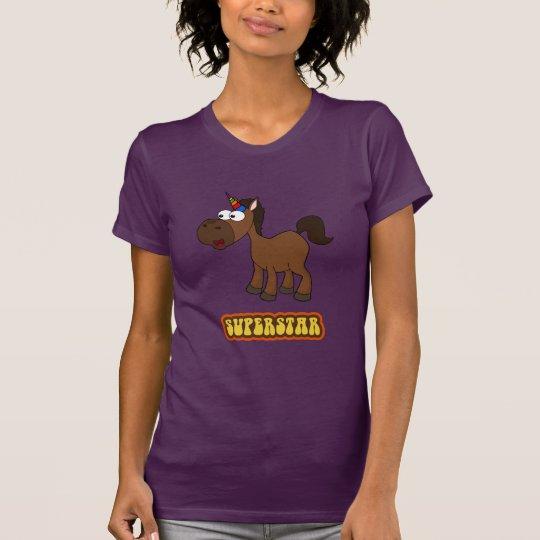 Superstar-schwarzes Einhorn T-Shirt