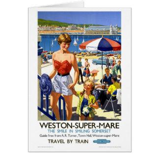 Superstuten-Vintages Reise-Plakat Englands Weston Karte