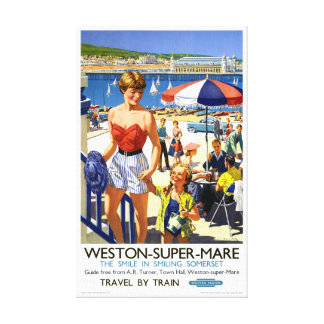 Superstuten-Vintages Reise-Plakat Englands Weston Leinwanddruck