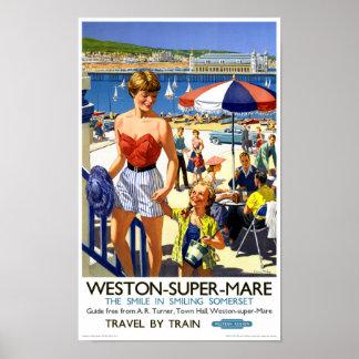 Superstuten-Vintages Reise-Plakat Englands Weston Poster
