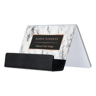 Support Carte De Visite Coiffeur de marbre blanc à la mode de maquilleur