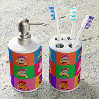 Support et distributeur de brosse à dents d'ours set de salle de bains