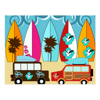 Surfbrett-Strandwertlos surfende Hippie-Packwagen Postkarten