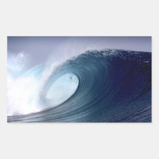 Surfende tropische Insel der Welle des blauen Rechteckiger Aufkleber