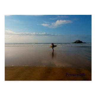 Surfer an Perranporth Strand Cornwall England Postkarte