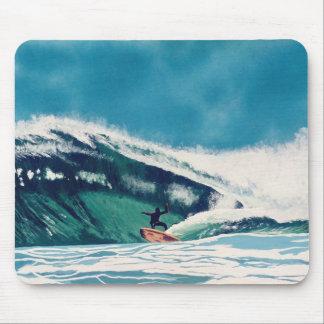 Surfer-surfende Rohr-Fahrwellen-Ozean-Seemausunter Mauspads