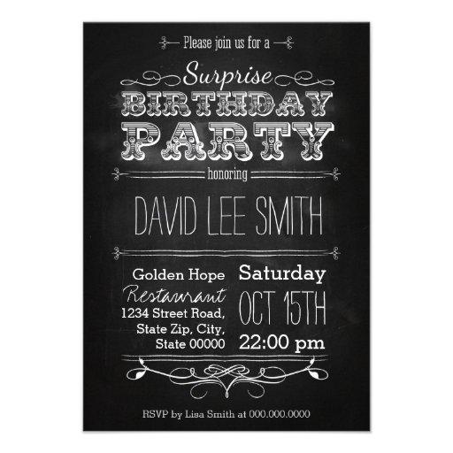 Surprise Birthday Party Ankündigungen