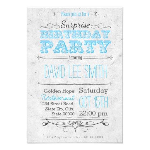 Surprise Birthday Party Individuelle Einladungskarte
