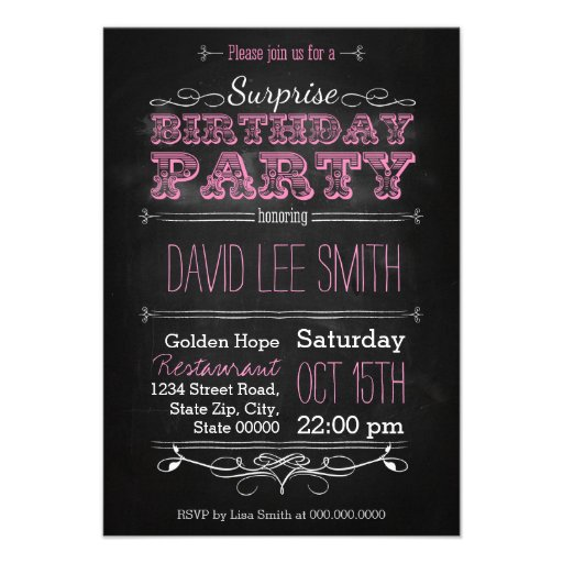 Surprise Birthday Party Personalisierte Einladungen