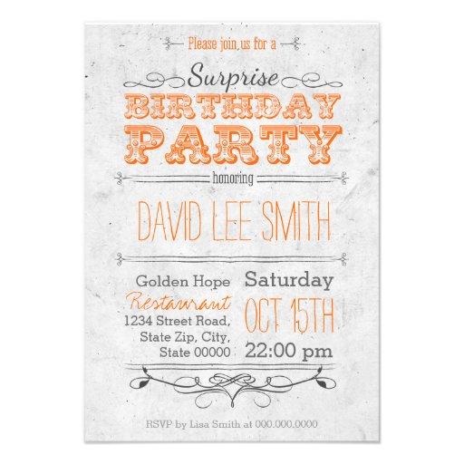 Surprise Birthday Party Ankündigungskarte