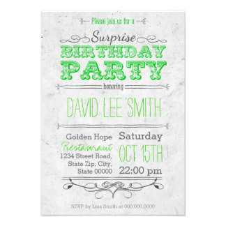Surprise Birthday Party Personalisierte Ankündigung