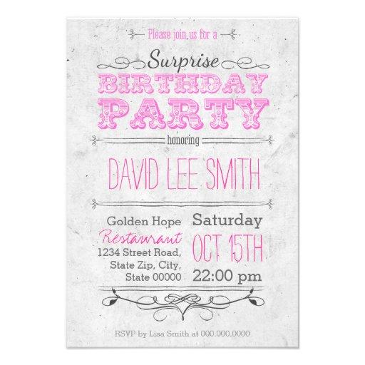 Surprise Birthday Party Einladungen
