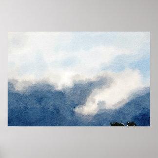 Surreale Himmel-und Wolken-Aquarell-Malerei Poster